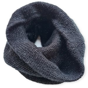 Acrylic Knitted Black Cowl Snood Scarf